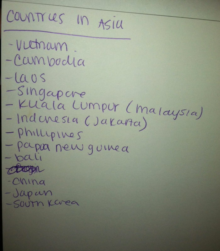 Asia Travel List
