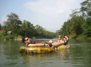 Famous river tubing in Vang Vieng.