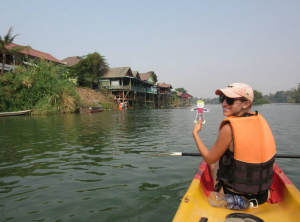 Kayaking on the Mekong River in Si Phan Don.